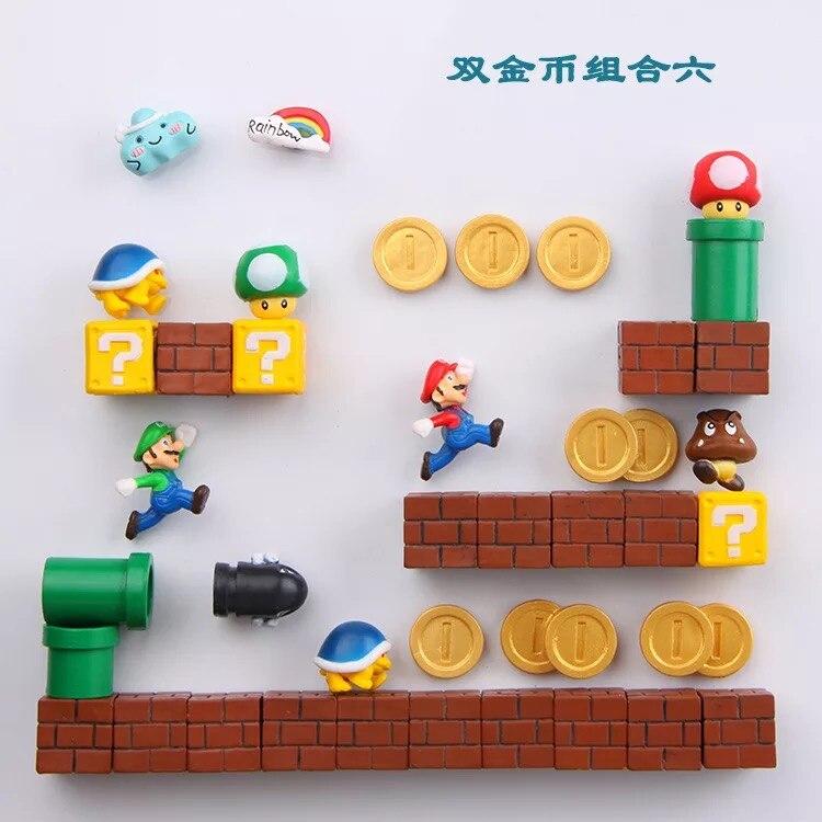 Super Mary DIY Fridge Refrigerator Magnet TV FC Childhood Game Japan Cartoon Gaming Cartoon 3D Ice Box Paster Icebox Sticker