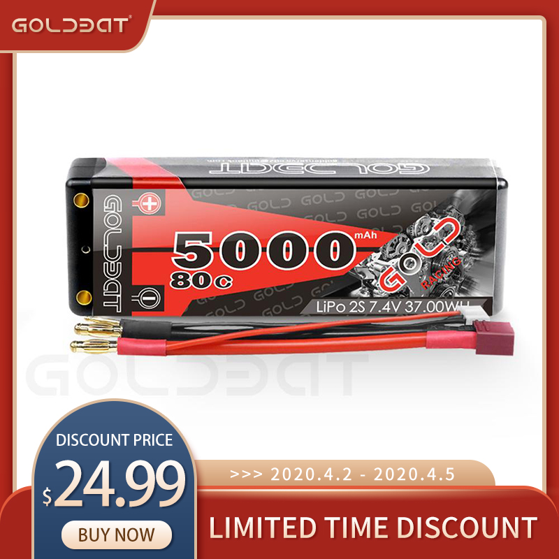 GOLDBAT 7.4V <font><b>lipo</b></font> Battery <font><b>5000mAh</b></font> RC Car 80C Battery <font><b>lipo</b></font> 7.4V Rechargeable Battery for RC Car Boat Truck Roar with Deans T Plug image