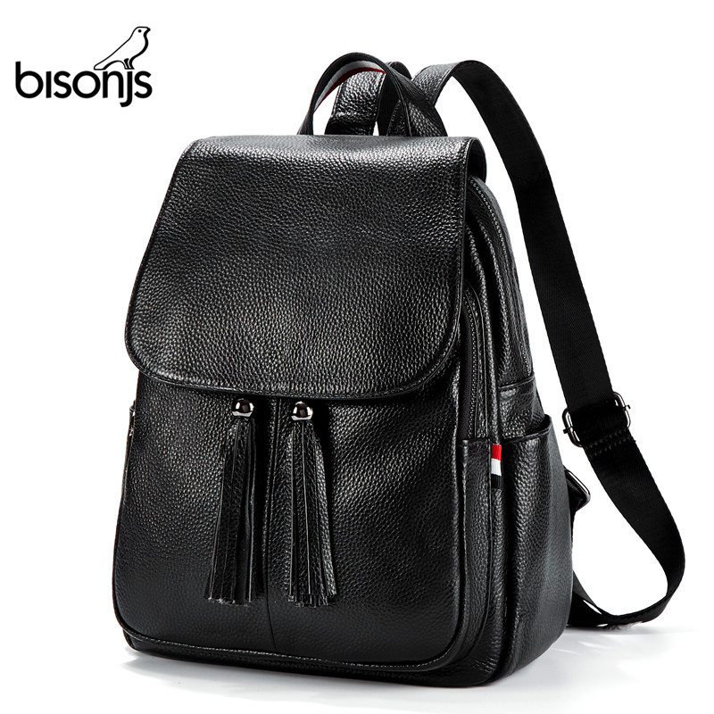 BISON DENIM Genuine Leather Women Backpacks Female Shoulder Bag Travel Ladies Bagpack Mochila IPad School Bags For Girls B1834