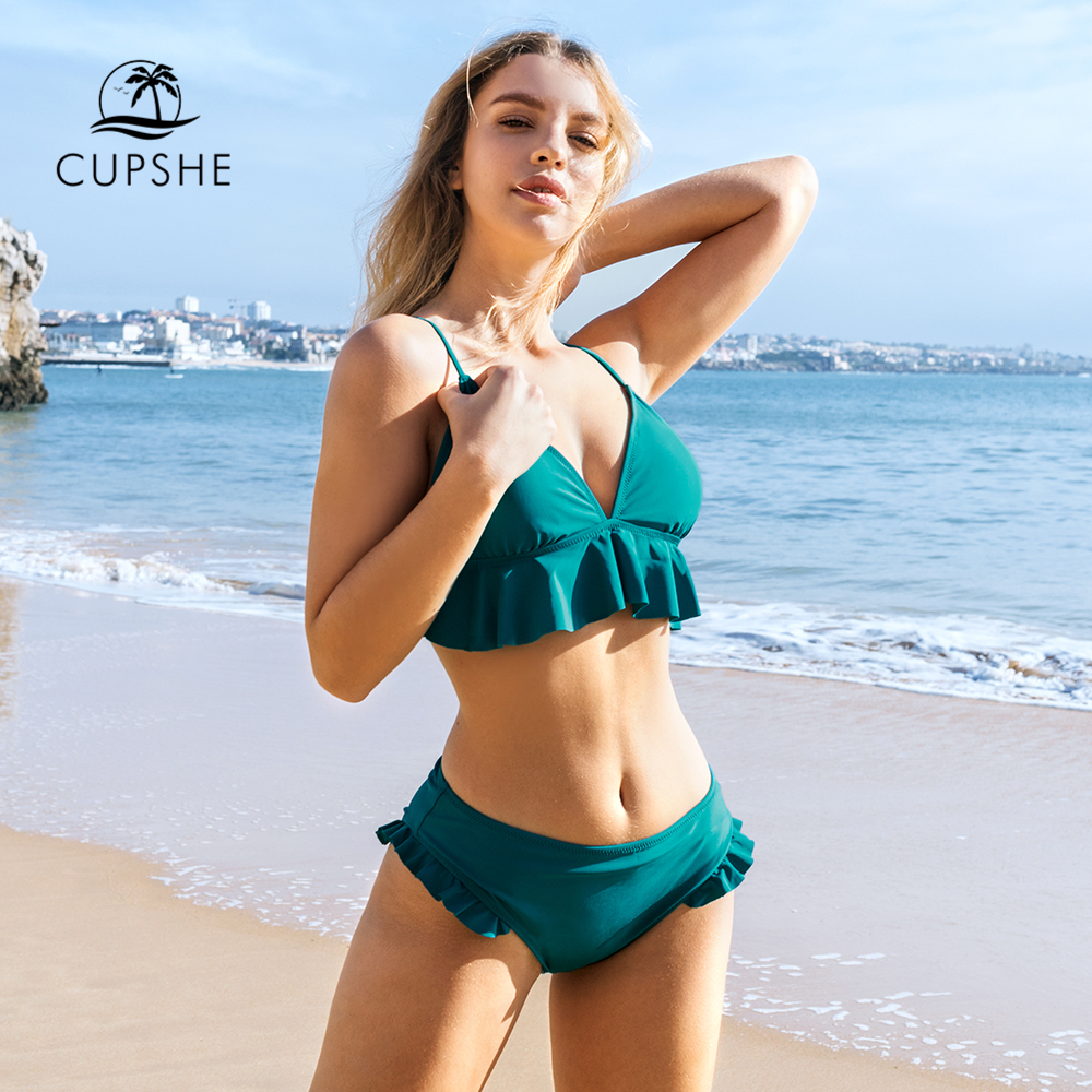 CUPSHE Solid Teal Ruffled Bikini Sets Sexy Tank Top Mid-waisted Swimsuit Two Pieces Swimwear Women 2020 Beach Bathing Suit