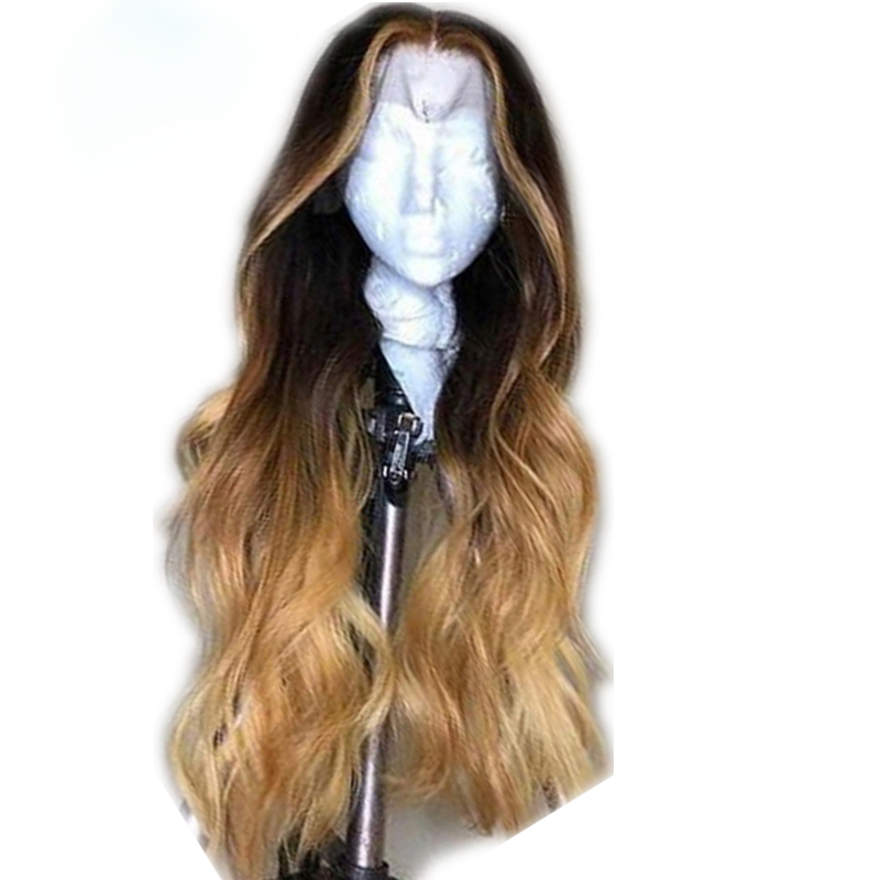 Eversilky Ombre Color With Honey Brown Highlights Human Hair Loose Wave 13x4 Front Lace Wigs Deep Middle Part Peruvian Remy Hair