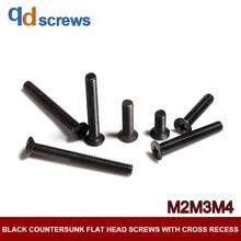 4.8 M2M3M4 Black Countersunk flat head screws with cross recess Phillips Cross Screw GB819-76 DIN965