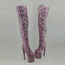 Leecabe  Snake 20CM/8inches Pole dancing shoes High Heel platform Boots closed toe Dance boots