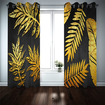 Curtains Decoration European 3D Curtains For Living room Blackout Golden leaves on black background Decoration curtains