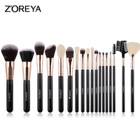 ZOREYA-brocha de maquillaje de pelo sintético suave, conjunto de pinceles para maquillar, base grande, contorno, colorete en polvo, sombra de ojos, color negro
