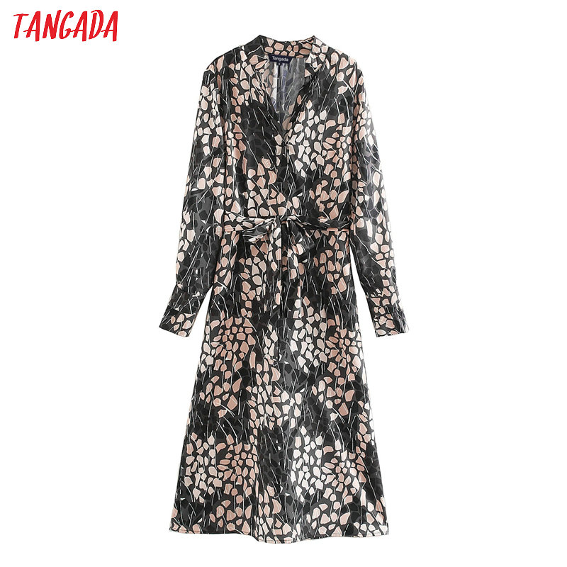 Tangada Fashion Women Flowers Print Elegant Chiffon Dress With Slash V Neck Long Sleeve Ladies Fit Midi Dress Vestidos XN200
