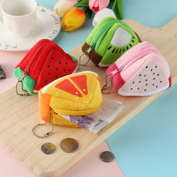2020 New Women Girl Coin Purse Cute Fruit Zipper Plush Change Bag Small Money Bag ID Card Holder Girls Hand Pocket Wallet Purse image