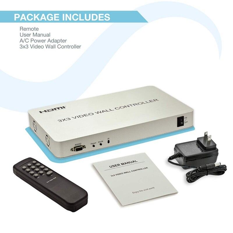 1080P Hdmi 3X3 Video Wall Controller 13 Display Modes - 1X2, 1X3, 1X4, 2X1,  2X2, 2X3, 2X4, 3X1, 3X2, 3X3, 4X1, 4X2 Usb Video W