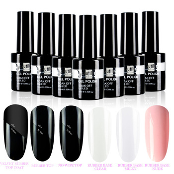 1pc Soak Off Gel Nail Polish Velvet Rubber Matte Gloss Base Top Coat Primer 10ml