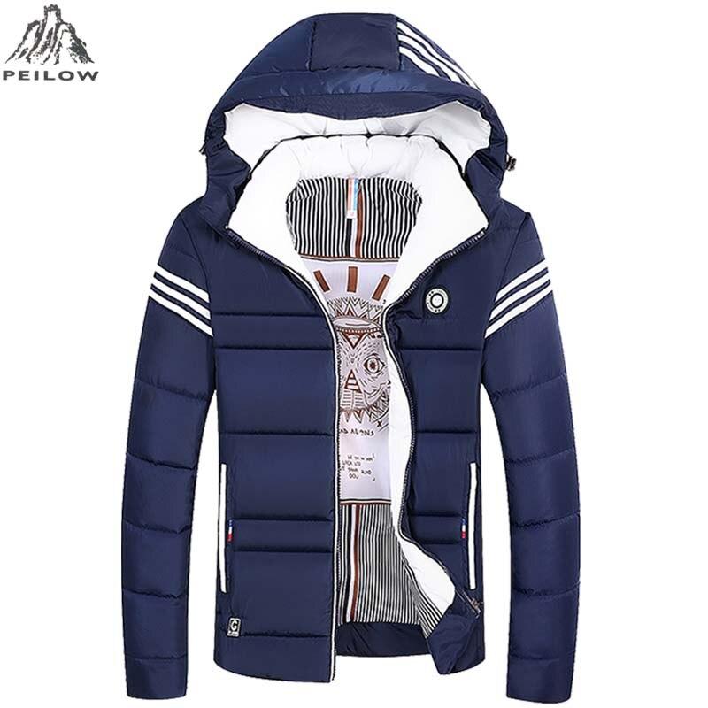 Men Parka Winter Warm Zipper Jacket Coat Mens Windproof Jackets Male Stripe Cotton Padded Outwear Men`s Windbreaker Size L-5XL