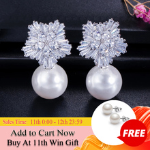 CWWZircons 2020 New Arrival Snow Flower Design Women Big Drop White Pearl Earrings with Cubic Zirconia Christmas Gift  CZ069