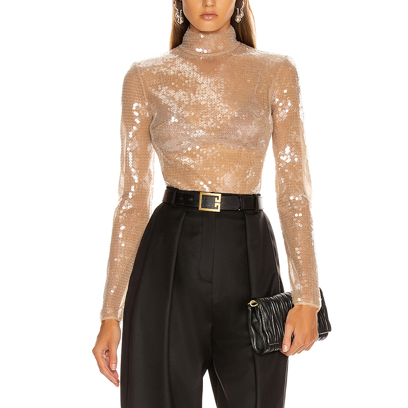 Women'S Bodysuits 2020 Summer New Sexy Apricot Long-Sleeved Sequined Turtleneck Bodycon Celebrity Club Party Bodysuit Female