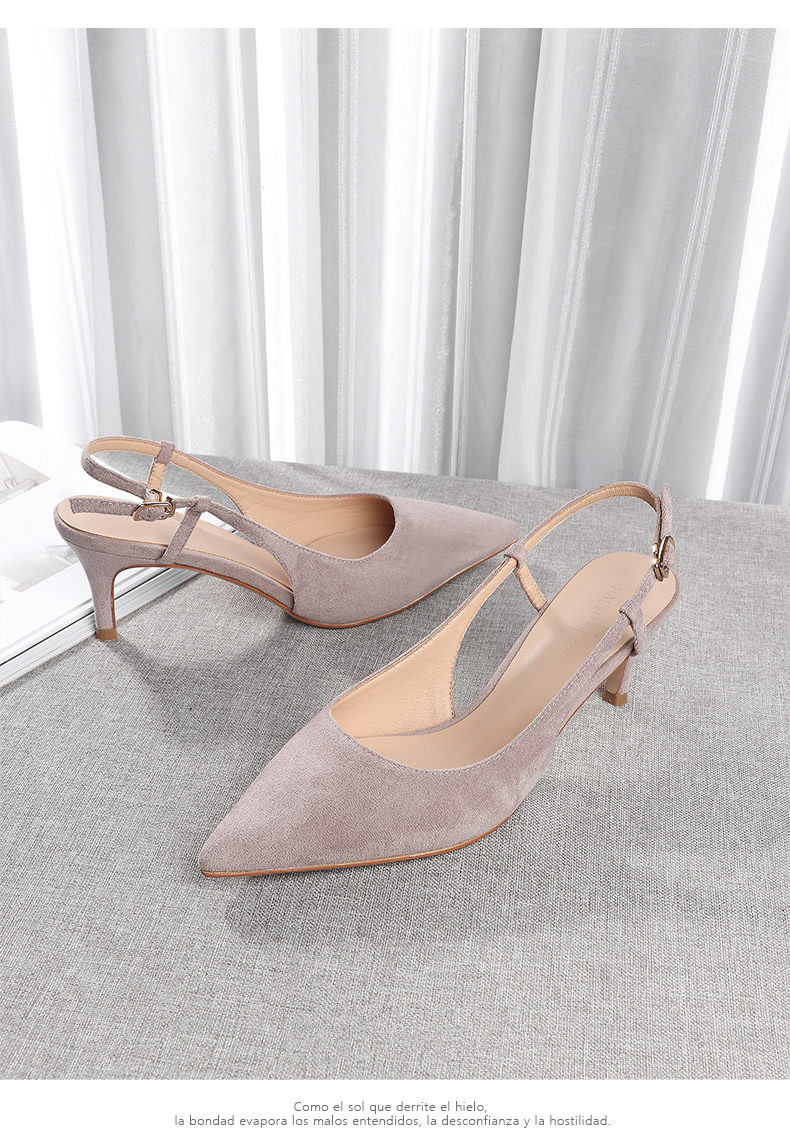 Woman's Spring 6cm Thin High Heels Slingbacks 17
