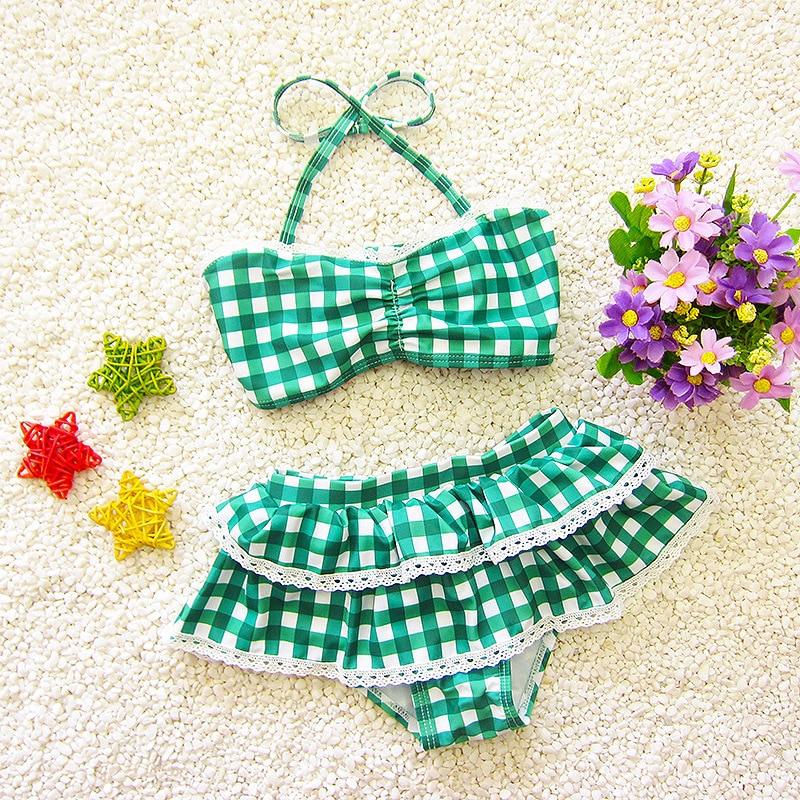 South Korea Split Type Plaid GIRL'S Skirt Triangle Bikini Two-Piece Set Medium-sized Baby Swimming Suit