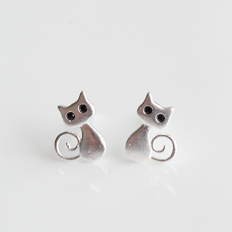 Childrens Girls Silver Cute Cats Dangly Hook Earrings Gift Birthday Christmas
