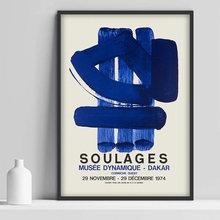 Peinture sur toile de Pierre Soulages, affiche d'exposition de musée, impression d'images, peintures murales pour décoration de maison