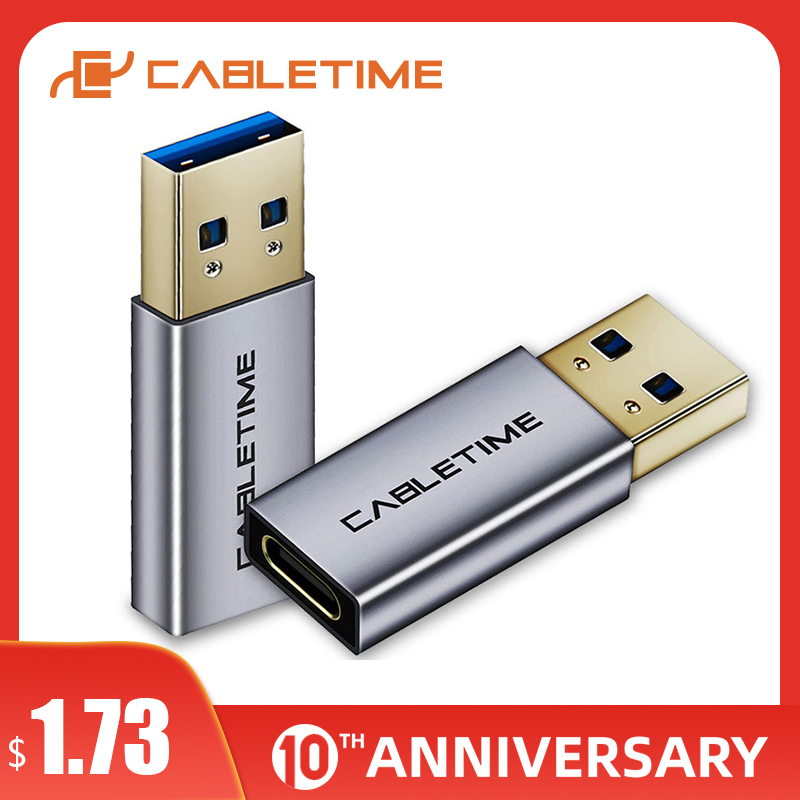 CABLETIME Type C Adapter USB C To USB3.0 A Male OTG Charging & Sync Converter For Macbook Air/pro Matebook X 13 C012