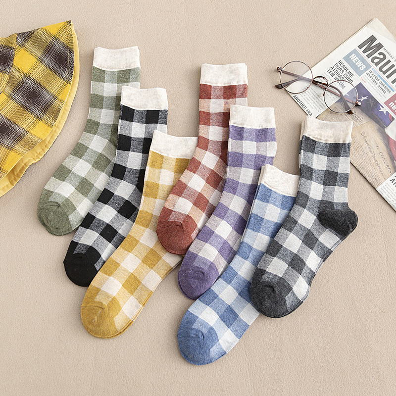 New Retro Plaid Cotton Tube Socks Women's Casual Comfort Color Socks 6pair/lot