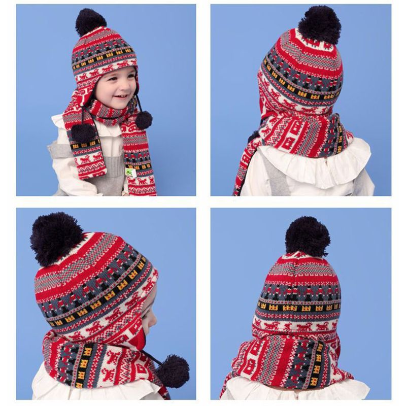 Toddler Kids Winter Fluffy Pompom Thermal Lining Earflap Beanie Cap Long Scarf Winter Fluffy Pompom