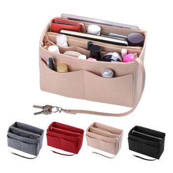 2020 Multi Pocket Felt Makeup Bag Handbag Organizer Insert Cosmetic Case Tote Shaper Fabric Organizer Bag Travel Inner Purse фото