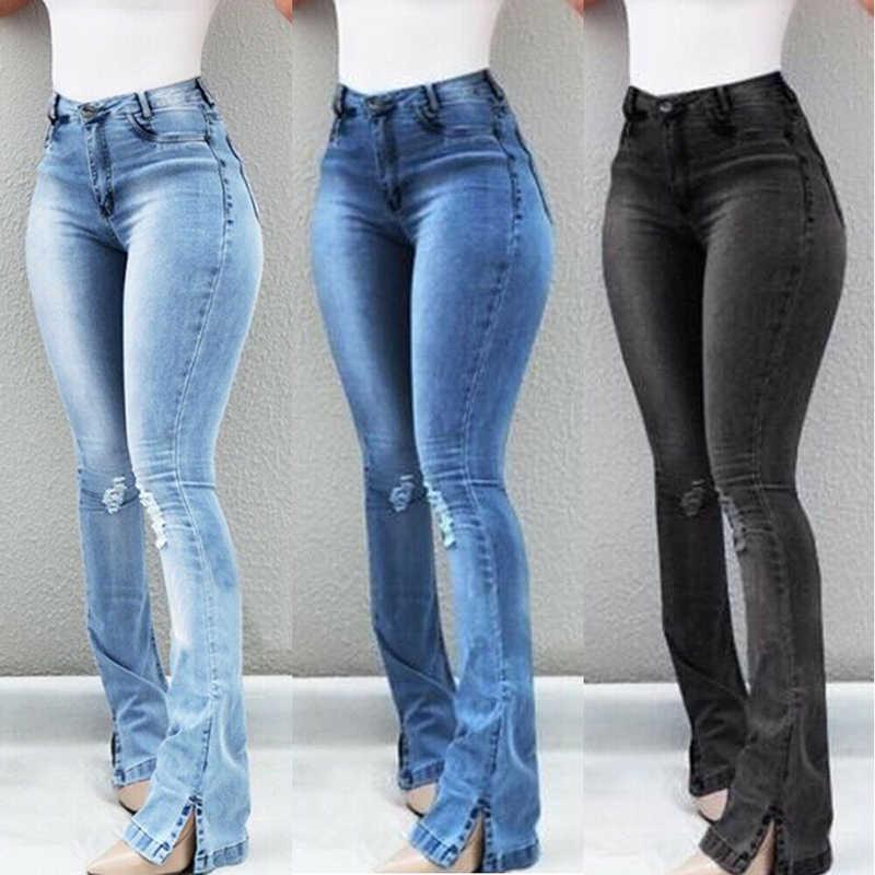 Las Mujeres De Cintura Alta Jeans Elasticos Slim Pantalones De Campana Inferior Retro Pantalon 2020 De La Calle De Moda De Pantalones Vintage Opk Pantalones Vaqueros Aliexpress