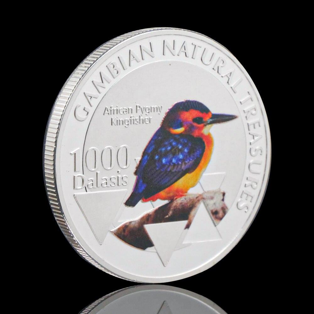 Посеребренные гамбийский натуральный Treasumres африканские карликовый зимородок птица сувенирные медали монета животных коллекционные монет...