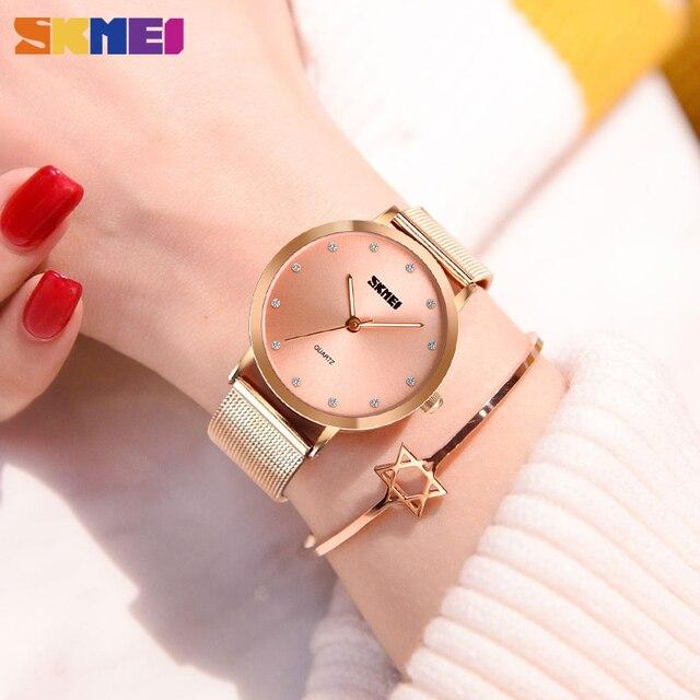 SKMEI Fashion Women Watches Luxury Stainless Steel Strap Quartz Watch Ladies 3bar Waterproof Wristwatches Relogio Feminino 1291 5