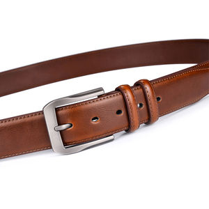 Image 3 - Mens Genuine Leather Dress Belt Classic Stitched Design 38mm ALL LEATHER Regular Big and Tall Sizes
