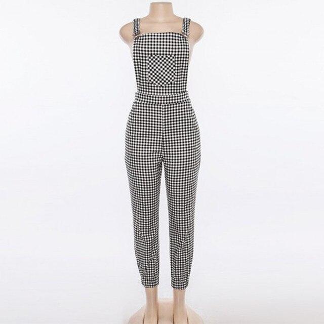 Combinaison Femme sans manches décontracté Polyester Salopette ample Plaid longue combishort combinaison pantalon pantalon Salopette Femme
