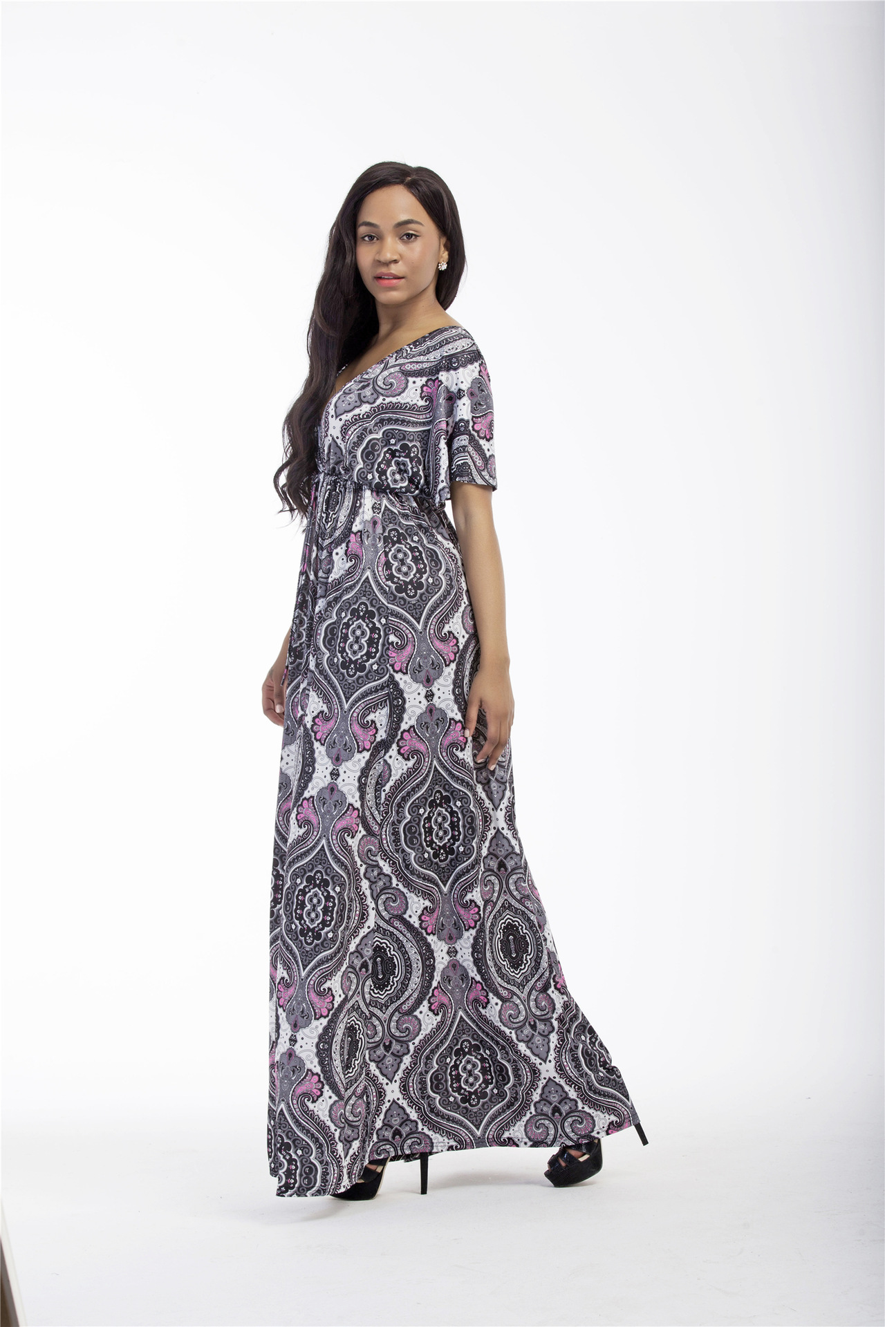 New Style WOMEN'S Dress Europe And America Deep V-neck Long Skirts Thailand Style Printed Large Size Dress 6013