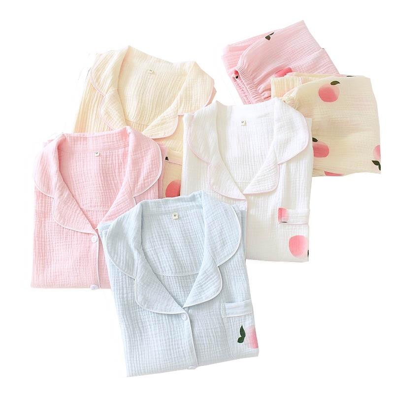 Spring Ladies Gauze Cotton Sleepwear Cartoon Peach Printed Cardigan+Pants Loose Thin Pajamas Set INS Style Homewear Casual Wear