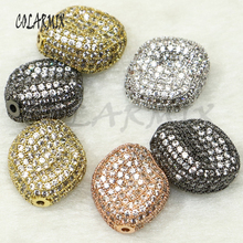 5 pieces  geometric sunken pendants micro pave mix colors zircon beads accessories for women crystal charm 50156