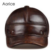 HL102  genuine leather men baseball cap hat CBD high quality  men's real leather adult solid adjustable hats caps цена в Москве и Питере