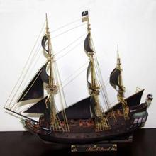 Navio pirata forma pérola preta material de papel modelo para ventilador militar requintado presente artesanal diy modelo