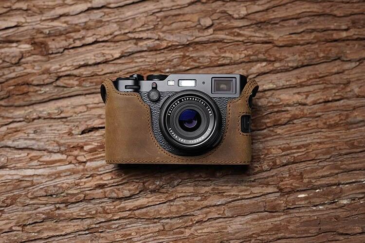 Handmade Genuine Leather Camera Case For FujiFilm X100F Fuji x100f  X100-F Camera Half Bag Body Cover Open battery