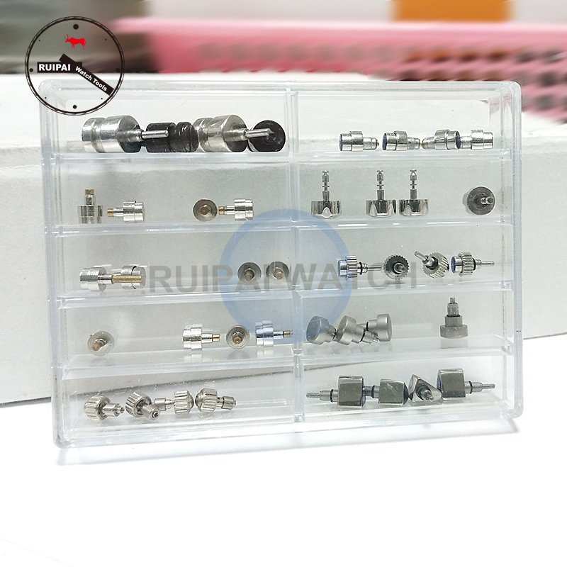50pcs/box Stainless Steel Watch Crown Kit Box Pressing Model Unconventional Press Type Watch Crown Replacement Parts
