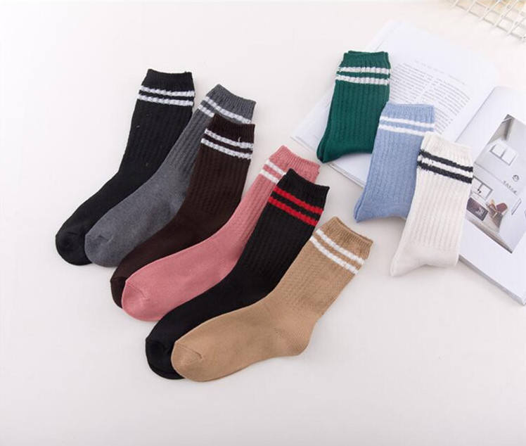 GPLin-B8 New Bold National Autumn And Winter Two Stripes Pile Heap Women Socks