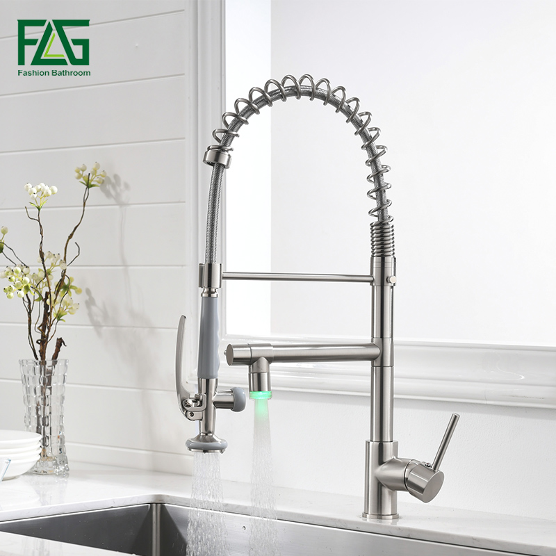 FLG Luxury Kitchen Faucets Brushed Nickel Spring Style LED Faucet High Quality Swivel Kitchen Sink Taps Brass Mixer Tap 512-33N