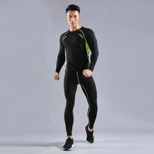 2019 New Compression Fitness Workout Running Sportswear Set Tight Mens Leggings T-shirt Demix Gym Sport Suit