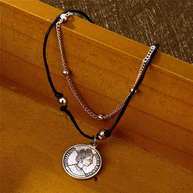 Moda Boho wielowarstwowe koraliki kostki bransoletki dla kobiet w stylu Vintage portret uszczelnienie urok łańcuszek na kostkę skórzane łańcuszek na kostkę plaża biżuteria
