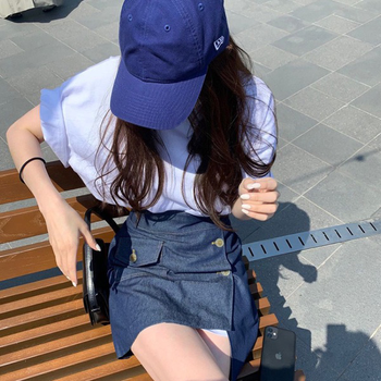 2021 New Girls Summer T-shirt Women Shirt Short Sleeves Tops High Waist  Denim Solid A Line Skirts Two Piece Suits 1