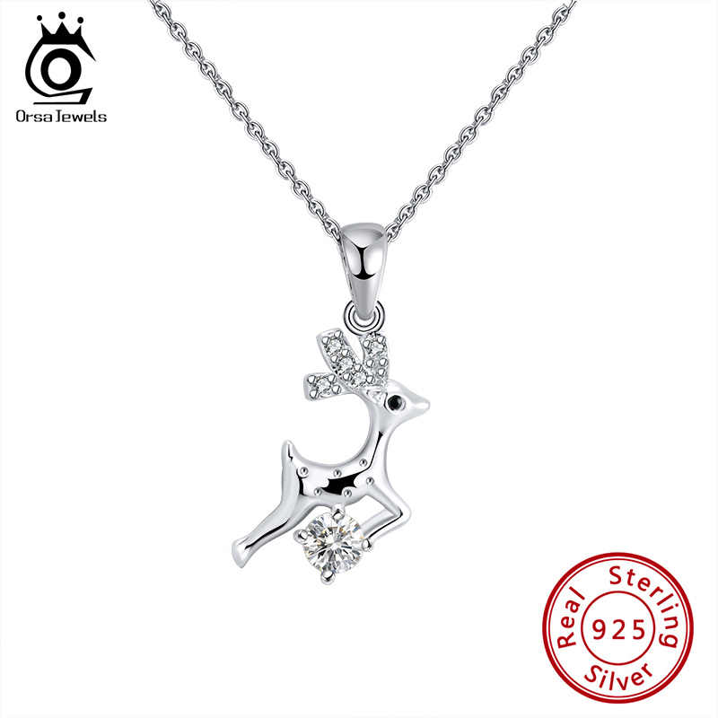 ORSA JEWELS S925 Sika deer Style Pendant Necklace Clear AAAA Zircon Cute Pendant Sterling Silver Unique Simple Jewelry SN172