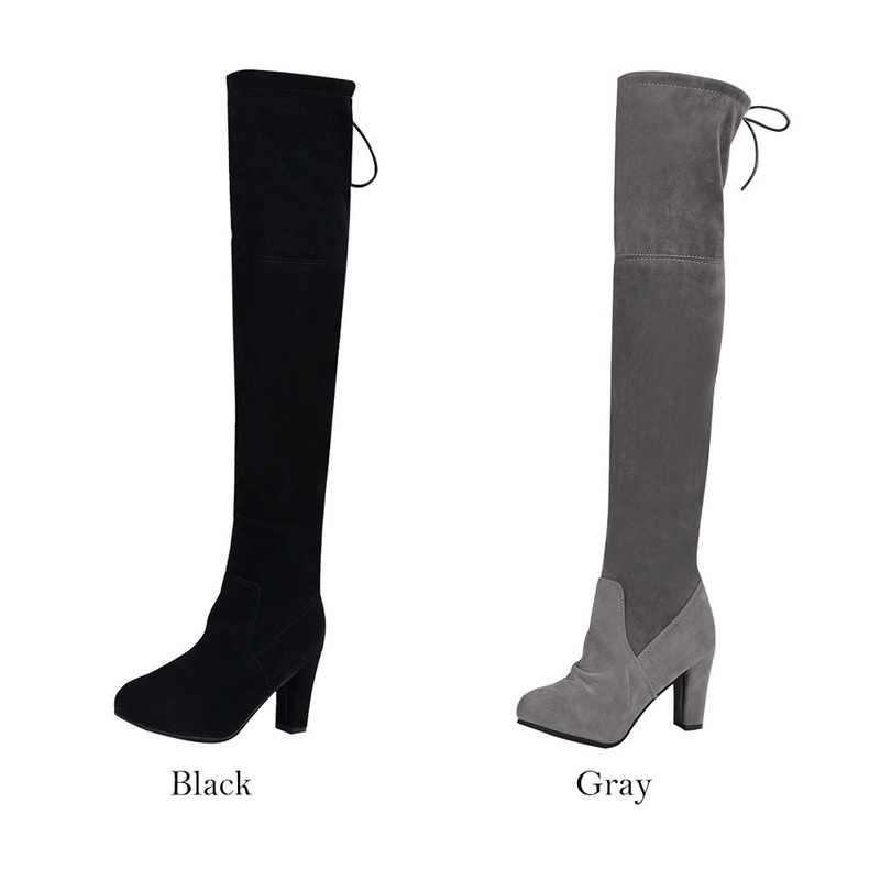 PUIMENTIUA ผู้หญิงต้นขาสูงบู๊ทส์แฟชั่นหนังนิ่มรองเท้าส้นสูง Lace up ผู้หญิงมากกว่าเข่าพลัสขนาดรองเท้า