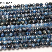 Meihan wholesale 6 7mm blue Kyanite (1 strand) smooth round stone beads For jewelry diy making