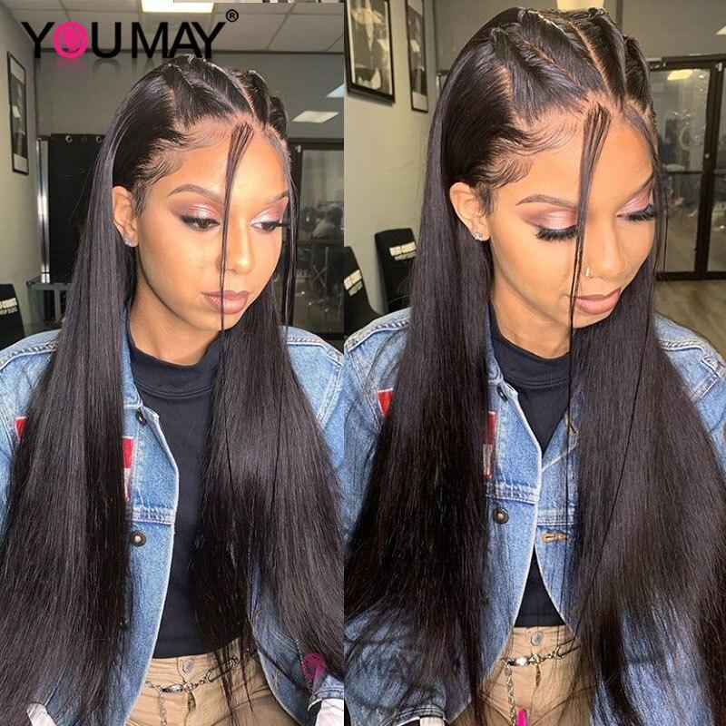 Прямые Полностью кружевные человеческие волосы парик для женщин, поддельные головы невидимый прозрачный полный парик шнурка 180 плотность индийские волосы remy вы можете - 2
