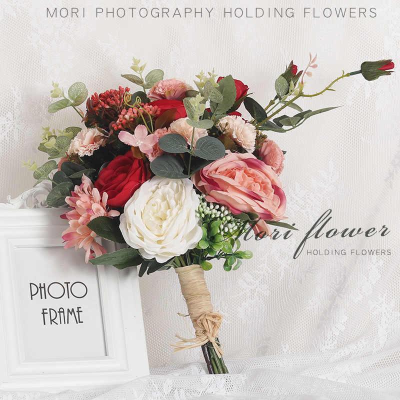 Bouquet da sposa Da Sposa Fatto A Mano Fiore Artificiale Fiore di Rosa buque casamento Bouquet Da Sposa per la Decorazione di Cerimonia Nuziale ramos de novia FZ16