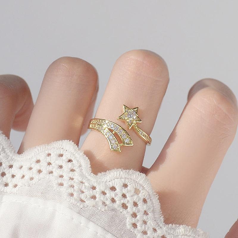 Mignon ouvert Design météore étoile anneau pour les femmes réglable brillant CZ 14K réel or anneaux Bague romantique Anillos Bijoux accessoires 2