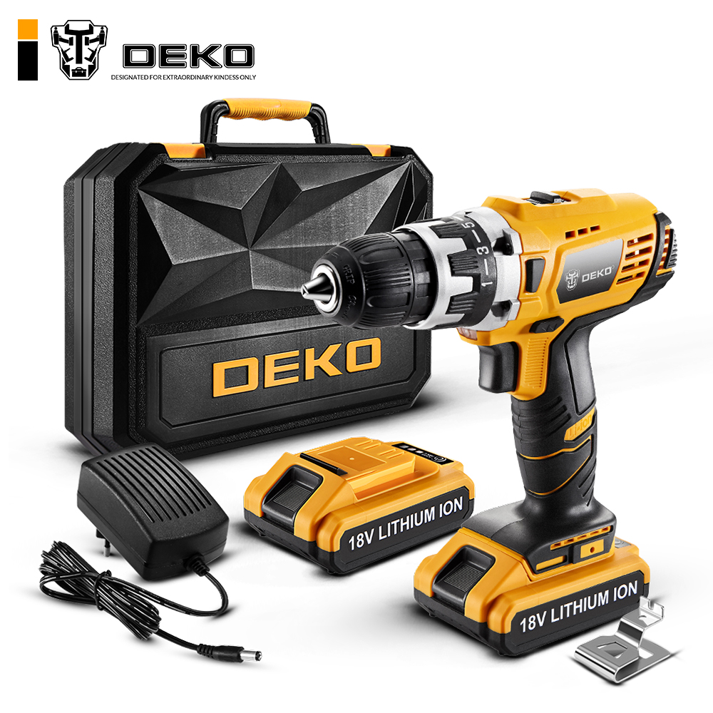 DEKO GCD18DU2 Electric Screwdriver Cordless Drill Wireless Power Driver 18-Volt DC Lithium-Ion Battery 1/2-Inch 2-Speed