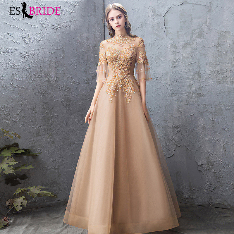 Gold Evening Dresses Long ES3159 A-Line Ruffles Half Sleeve O-Neck Backless Tulle Formal Evening Gowns Robe De Soiree 2020