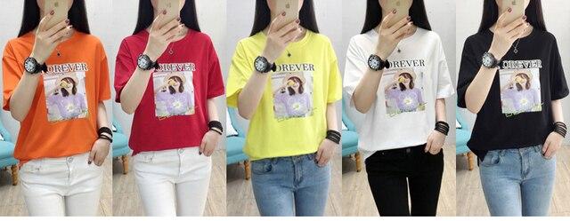 Футболка женская с буквенным принтом Модный хлопковый топ рубашка